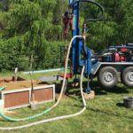 Rozstawiona maszyna wiertnicza w Lubinie